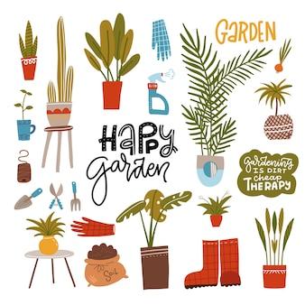 Conjunto de jardinagem doméstica com ferramentas de jardim, plantas caseiras e frase de lama