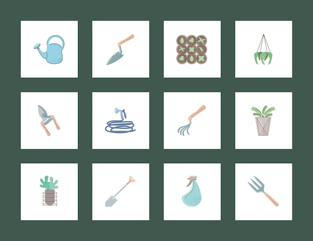 Conjunto de jardinagem e agricultura