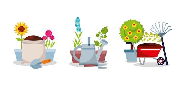 Conjunto de jardinagem equipamentos ferramentas flores planta árvore