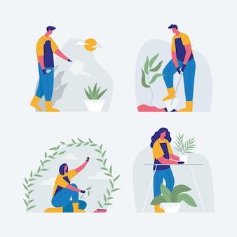 Conjunto de jardinagem, homens e mulheres cuidando do jardim