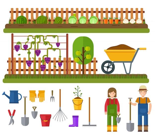 Conjunto de jardinagem, paisagem rural com jardim.