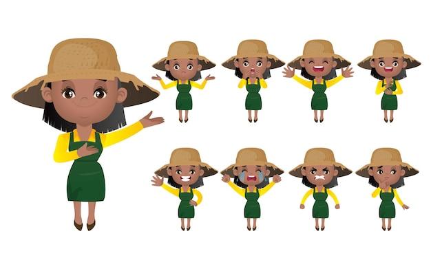 Conjunto de jardineiro com diferentes poses