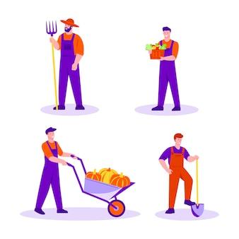 Conjunto de jardineiros agricultores masculinos com ferramentas. um homem com abóboras em um carrinho de mão, com um forcado, uma pá, com uma cesta de ervas e vegetais.