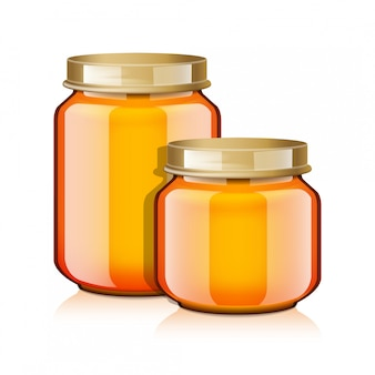 Conjunto de jarra de vidro para mel, geléia, geléia ou comida para bebê purê realistick mock up modelo