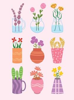 Conjunto de jarro de vaso desenhado à mão ou garrafas de frasco com enfeites de flores bonitos