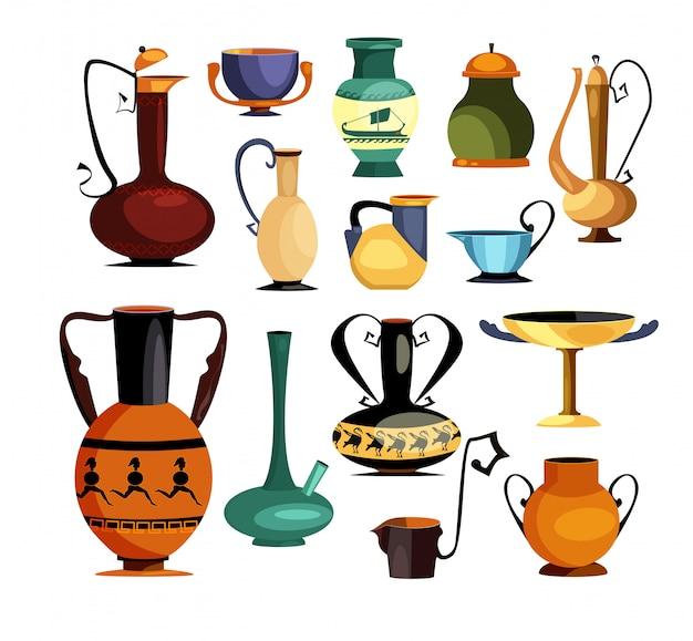 Conjunto de jarros e jarros antigos