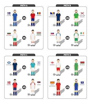 Conjunto de jogador de futebol com uniforme de jersey e bandeira