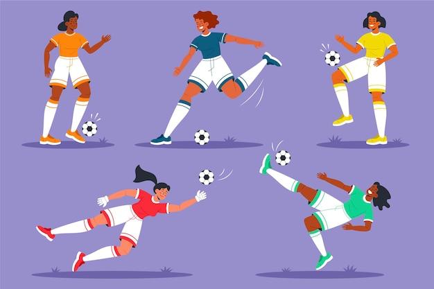 Conjunto de jogador de futebol de design plano