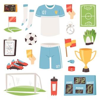 Conjunto de jogador de futebol ou jogador de futebol