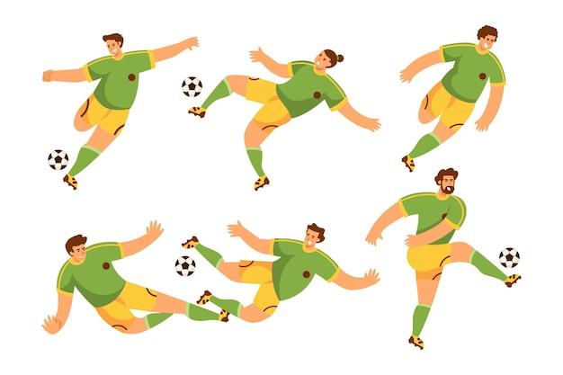 Conjunto de jogador de futebol plano