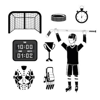 Conjunto de jogador de hóquei com equipamento e uniforme profissional
