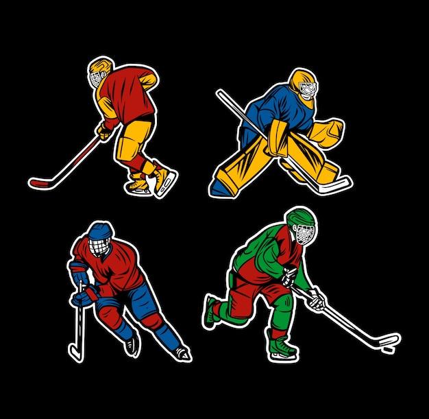 Conjunto de jogador de hóquei no gelo