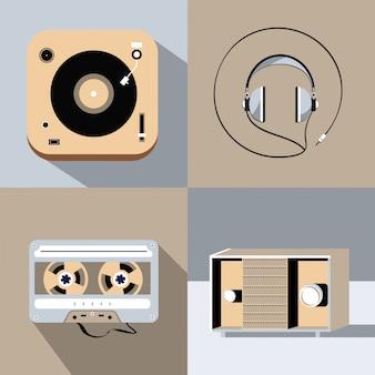 Conjunto de jogador para disco de vinil, rádio, fones de ouvido, fita cassete retrô. ilustração design plano.