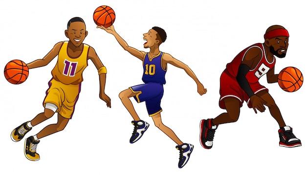Conjunto de jogadores de basquete dos desenhos animados