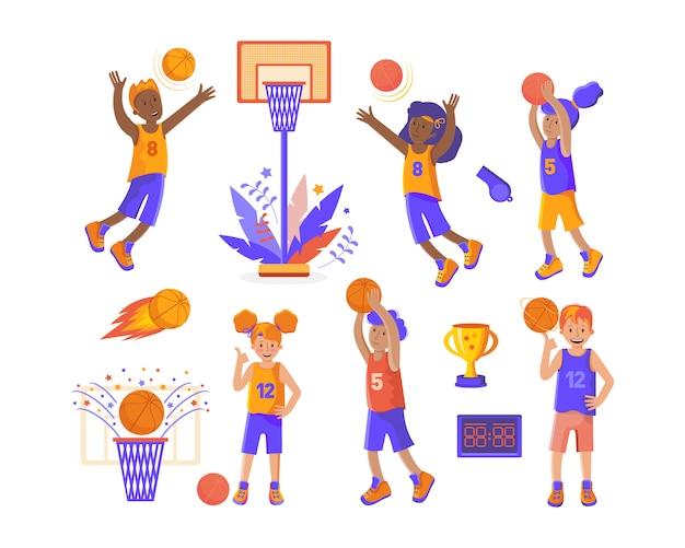 Conjunto de jogadores de basquete e itens de esportes