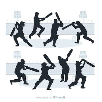 Conjunto de jogadores de críquete com estilo de silhueta
