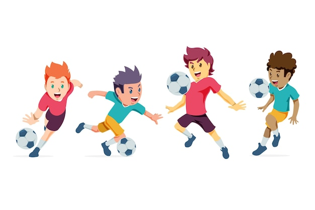 Conjunto de jogadores de futebol de desenho animado