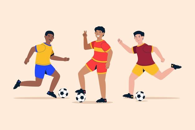 Conjunto de jogadores de futebol de design plano