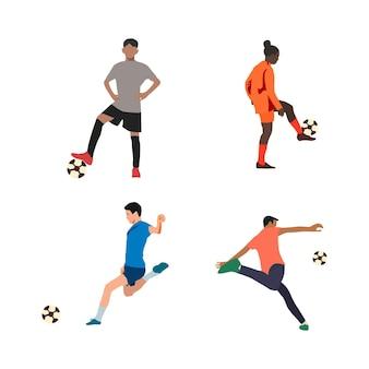 Conjunto de jogadores de futebol de futebol com personagens isolados e um conjunto moderno de ícones de futebol e futebol