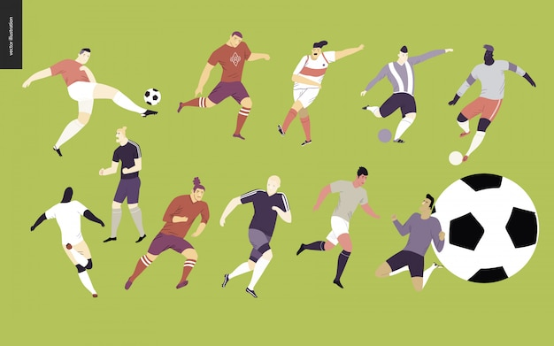 Conjunto de jogadores de futebol europeu