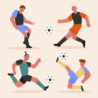 Conjunto de jogadores de futebol plano