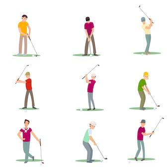 Conjunto de jogadores de golfe diferentes isolar no fundo branco