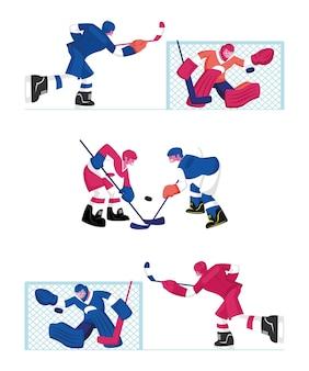 Conjunto de jogadores de hóquei, isolado no fundo branco. ilustração plana dos desenhos animados