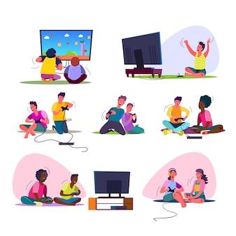 Conjunto de jogadores de vídeo animado