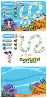 Conjunto de jogo com cena debaixo d'água