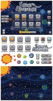 Conjunto de jogo de aventura espacial com planetas no espaço