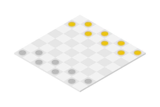 Conjunto de jogo de damas de negócios, idéia de conceito de moeda de dólar