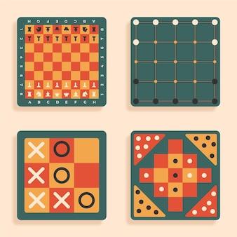 Conjunto de jogo de tabuleiro ilustrado