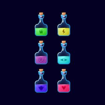 Conjunto de jogo de ui garrafa de poção colorida com energia mágica para elementos de recursos de interface do usuário