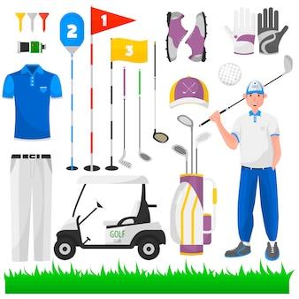 Conjunto de jogo para o golfe.