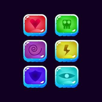 Conjunto de jogo ui colorido mágico power up para elementos de recursos de gui
