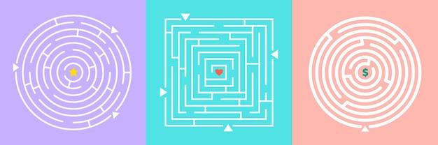 Conjunto de jogos de labirintos