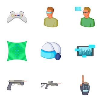 Conjunto de jogos de realidade virtual, estilo cartoon