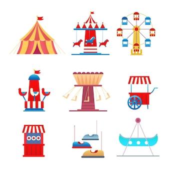 Conjunto de jogos no carnaval e parque de diversões
