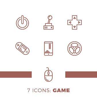 Conjunto de jogos simples ícones de linhas vetoriais relacionadas