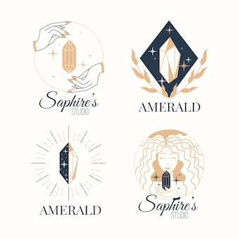 Conjunto de joias com logotipo desenhado à mão