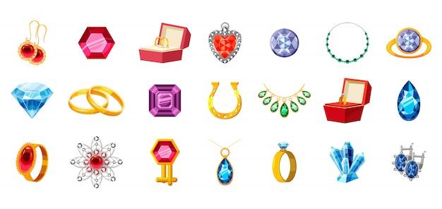 Conjunto de jóias. conjunto de desenhos animados de joias