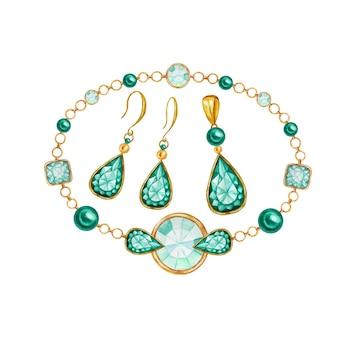 Conjunto de joias de brincos, pingente, pulseira. gema de cristal quadrada, gota e redonda com elemento de ouro. aquarela desenhando cristais em corrente dourada