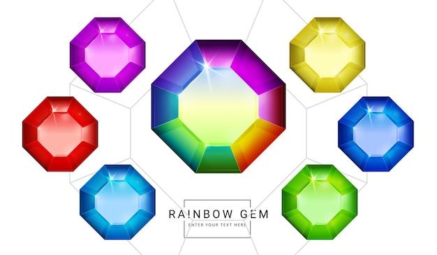 Conjunto de joias de fantasia de cores do arco-íris, pedra de forma de polígono para o jogo.