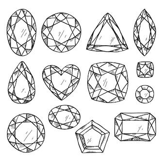 Conjunto de joias em preto e branco.