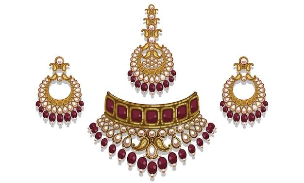 Conjunto de joias estilo indiano
