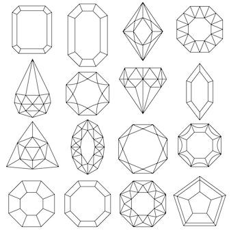 Conjunto de joias, gemas e diamantes, ícones de luxo isolados, desenho de contorno.