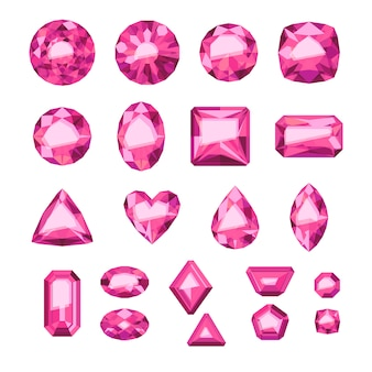 Conjunto de joias rosa estilo simples. gemas coloridas. rubis em fundo branco.