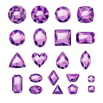 Conjunto de joias roxas realistas. gemas coloridas. ametistas em fundo branco.