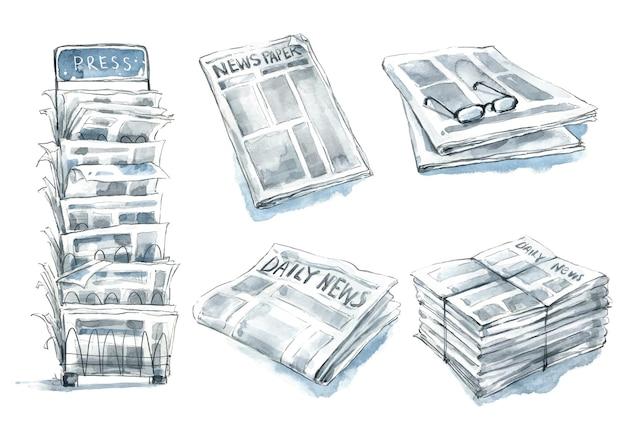 Conjunto de jornais, ilustração em aquarela de carrinho de imprensa