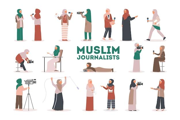 Conjunto de jornalista de tv ou repórter de notícias muçulmano. personagem com entrevista de tiro com câmera. mídia social. repórter falando usando um microfone.